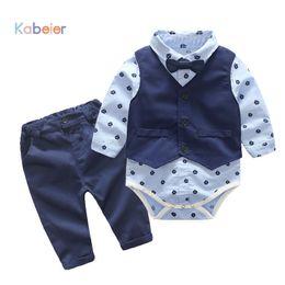 $enCountryForm.capitalKeyWord Australia - Baby Boys Party Clothes Suits Infant Newborn Sets Dress Kids Vest+romper+pants 3pcs Autumn Spring Children Suits Outfit 3-24m J190521
