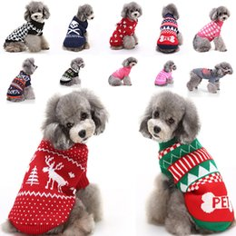 Wholesale knitted skull sweater online – design Dog Clothes For Halloween Christmas Reindeer Snowflake Pumpkin Skull Puppy Pet Costumes Clothing Knitted Outerwears Coat Sweater XD21582
