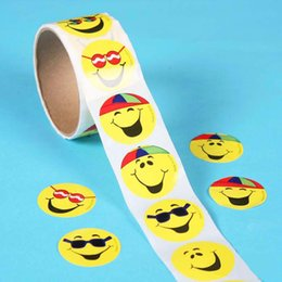 sticker cartoon smile UK - 100pcs 1 smile face roll reward stickers roll kids sticker scrapbooking star 3D cartoon characters funny Toys for Children