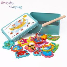 Kids fish games online shopping - Baby Educational Toy For Children Iron Box Fishing Wooden Game Set Novelty Toys Boy Girl Cognition Magnetic Toys Set Kids Gifts