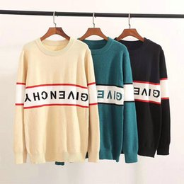Wholesale loose pullover knit for women for sale - Group buy 2019 GIV sweaters men women long sleeve letter print couple sweaters autumn loose pullover sweaters for women colors