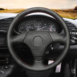 Venta al por mayor de MEWANT Envoltura de la cubierta del volante de cuero artificial negro cosida a mano para BMW E36 E46 E39 (sin botón multifunción)