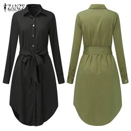 Plus size oversized shirts online shopping - Spring Long Sleeve Blouse Shirt Dress With Belt Women Oversized Midi Dress Retro Tunic Casual Office Work Vestidos Plus Size XL