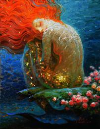 $enCountryForm.capitalKeyWord Australia - Gifts Hot Modern Art Wall Fantasy Vintage Mermaid Oil Painting series Art Reproduction Giclee Print on Canvas Home office Decoration V052