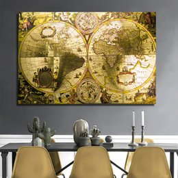 world map prints canvas UK - 1 Panel Canvas Paintings Golden World Map Wall Art Pictures for Living Room Posters and Prints Home Decoration Unframed