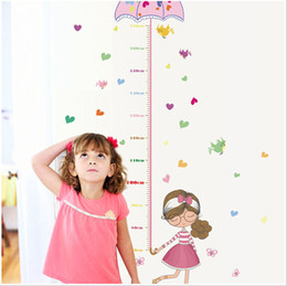 sticker wall boy room Australia - Cute Girl Umbrella Measure Height wall stickers decal kids adhesive vinyl wallpaper mural baby girl boy room nursery decor
