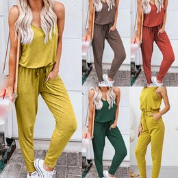 $enCountryForm.capitalKeyWord Australia - 2019 Sexy Overalls For Fashion Women Summer Loose O-Neck Sleeveless Pure Color Jumpsuit Leisure Suit rompers Womens Jumpsuit 41