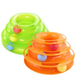 Pet Puzzle Toys Australia - CHUN0318 2019 Hot Three Layers Creative Cat Interaction Toys Puzzle Recreation Track Tower Kitten Turntable Game Pet Toy High Quality