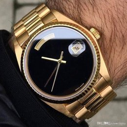 original big watch Australia - High-end brand male automatic rolix date big black face mechanic male watch sapphire original 18K gold stainless steel buckle male mechanica