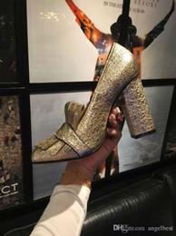 $enCountryForm.capitalKeyWord Australia - Luxury Design 5cm 9cm Chunky Heel Women Pumps 2017 Genuine Leather Tassel Gold Buckle Sexy High Heel Shoes Woman Formal Dress Shoes