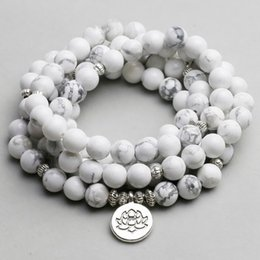 Om Plastic Australia - Women`s Bracelet White Howlite Beads With Lotus Om Buddha Charm Yoga Men Bracelet 108 Mala Necklace Dropshipping Stone Jewelry Y19051002
