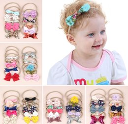 Headbands Bow Australia - 10PCS Combined Set Bow Baby Kid Headbands European Fashion Elastic Nylon Baby Girl Hairband Headwear NewBorn Baby Hair bands Accessories