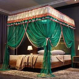 Purple Brown Bedding Australia - Luxury Green Brown Red Purple Three Open Door White Lace Palace Mosquito Net 25mm Stainless Steel Mosquito Frame Bedding Set