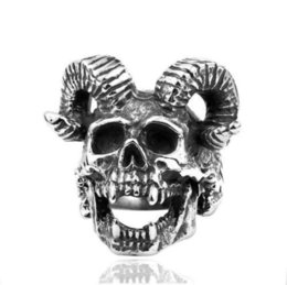Goat rinGs online shopping - Men Sheep Goat Horn Head Satan Worship Baphomet Aries Wicca Star Jewelry Stainless Steel Ring