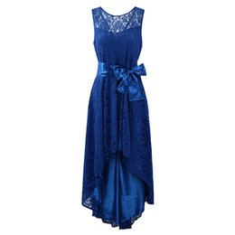 68595df0b59 Sexy Plus Size Party Dress New Women Lace Maxi Dress Sleeveless High Low  Belted Irregular Swing Long Dress Burgundy Blue Black