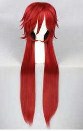 Anime cosplAy red hAir online shopping - FREE SHIPPIN Black Butler kuroshitsuji Grell Sutcliff Cosplay Wigs Long Red Synthetic Hair Women Girl Anime Party Wig