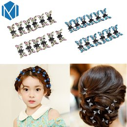 wholesale girls butterfly hair claws Australia - 12 Pcs Set Fashion Women Crystal Hairpins Mini Butterfly Barrettes for Kids Hair Clip Claw Clamp Girls Glitter Hair Accessories