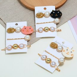 Cats Hair Clips Australia - 3Pcs Set Women Hairpins Hair Clips Pearl Cat Bobby Side Bangs Clips Barrettes Headwear For Ladies Girls Fashion Hair Accessories Jewelry New