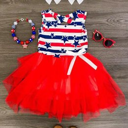 de03d9b277459 Girls Star Striped Dress Summer INS Children American flag Independence Day  Sleeveless Vest Bow Princess Dress Kids Clothing