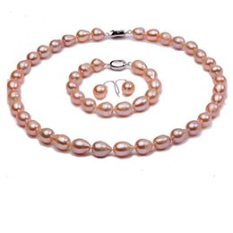 $enCountryForm.capitalKeyWord Australia - Jewelry Set Natural Oval 9-10mm Pink Freshwater Pearl Necklace Bracelet and Earrings Set