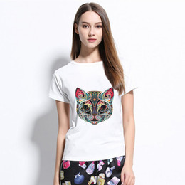 c07a9cceacd wholesale Cat Tshirt Women Sexy T Shirt Summer Tops White Top T-shirt  Womens Clothing Tshirts Vogue Tee Femme Shirts Women