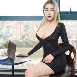 Wholesale sexy micro dresses resale online - New Sexy Women Tight Pencil Cute Dress See Through Straight Micro Mini Dress Transparent Night Club Fantasy Erotic Wear FX1020