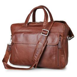 $enCountryForm.capitalKeyWord UK - Wholesale- 100% Genuine Leather Men's Portfolio Briefcase Business Laptop Bag Travel Bag Red Brown Vintage Men Messenger Bag Casual Handbag