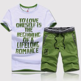 $enCountryForm.capitalKeyWord Australia - Summer Short 2piece Clothes Casual O-neck Letters Printed Top Tees + Drawstring Shorts Man Fitness Set C19041201