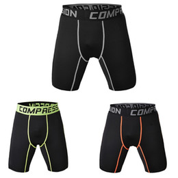wearing compression shorts NZ - Men Sports Gym Compression Wear Under Base Layer Short Pants Athletic Tights half trousers