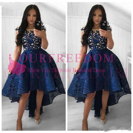 0217e4a318f 2019 High Low Navy Blue Lace Arabic Cocktail Dresses Sheer Scoop Cap Sleeves  A-Line Graduation Party Gowns Customized vestido baile