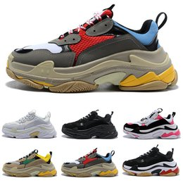 Boot uppers online shopping - 2019 New Luxury Triple S Men Women Casual Shoes Top Quality Balck Red Green Stitching Solor Uppers Designer Sneakers Boots