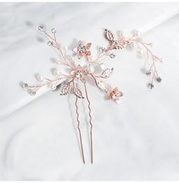 Großhandel 2019 Rose Gold Handmade Hochzeit Haarspangen Braut Haarnadeln Kopfschmuck Zubehör für Frauen Kopfschmuck JCF060