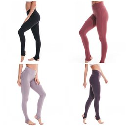 clothing design for women UK - LU Running Pants Step On Foot Designs 4 Colors Tummy Control Yoga Trousers Exercise Training Leggings For Lady Clothes 65lyd E19