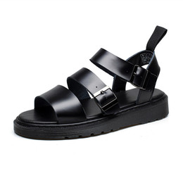 China Genuine Leather Women Sandals Gladiator Summer Shoes Platform Black Flat Woman Casual Shoes Thick Heels Peep Toe Sandalias Mujer suppliers