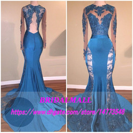 Jade Dresses Australia - Sexy 2019 Hunter Jade Lace Sheer Prom Dresses Keyhole Neck Mermaid Long Sleeves See Through Formal Evening Gowns Backless Sequin Party Dress