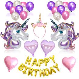 Balloons Design Cartoons Australia - Unicorn Balloons Happy Birthday Letter Balloons Birthday Party Decorative Ball Party Decorations Supplies Kids Gift 6 Designs