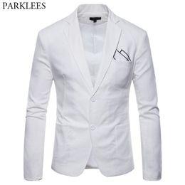 Mens white linen suit wedding online shopping - White Cotton Linen Lightweight Suit Jacket Men New Slim Fit Casual Blazer Jackets Mens Party Wedding Groom Blazer Hombre
