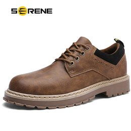 warm casual boots Australia - SERENE Brand New Men's Boots Mens Leisure Warm Shoes Men Casual Leather Martins Boots Male Winter Retro Black Brown Tooling Shoe
