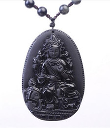 elephant carvings UK - 100% Natural Black Obsidian Hand Carved Elephant Guanyin Lucky Blessing Pendant Free Necklace Fashion Fine Jewelry For Woman Man