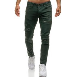 tight pants punk NZ - 2019 Fashion Streetwear Men's High-grade pure cotton Jeans Vintage Skinny Destroyed Ripped tight Jeans Broken Punk Pants