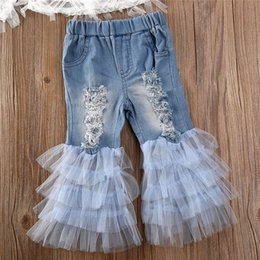 half shoulders shirt NZ - 1-6Y Toddler Kids Baby Girls Fashion Lace Off Shoulder Tops T-shirt Ruffle Denim Ripped Hole Pants Outfits Girl Clothes 2Pcs Set