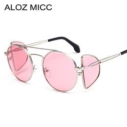 ALOZ MICC Mujeres Redondas Steampunk Gafas de sol mujeres vintage espejo  negro gafas de círculo mujer tonos marco de metal Shields A175 471c0cf8a06a