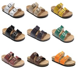 mens leather buckle sandals Australia - Genuine Leather Slippers Mens new Flat Sandals Women Shoes two Buckle Fashion design Arizona Summer Beach Top Quality With Orignal Box 35-46