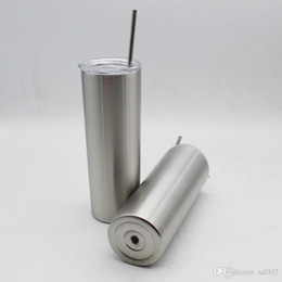 wholesale double walled tumbler NZ - 15oz Stainless Steel Skinny Tumbler Slim Tumbler Water Tumbler Cup Double Wall Insulated with leak proof lid and straw