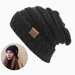 6b54de7eda6e5 Women Winter Hat Knitted Wool Cap CC Beanies Unisex Casual Pure Black Color  Hip-Hop Skullies Beanie Warm Men hat Christmas Gift S18120302
