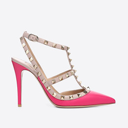 designer shoes studs buckles Australia - Designer Pointed Toe 2-Strap with Studs high heels matte Leather rivets Sandals Women Studded Strappy Dress Shoes valentine high heel Shoes