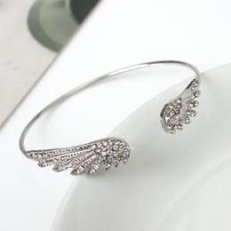 $enCountryForm.capitalKeyWord NZ - Popular jewelry angel wings set with diamond bracelet wings personality alloy open flash diamond bracelet