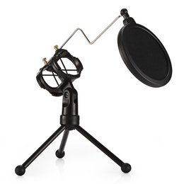 $enCountryForm.capitalKeyWord NZ - Desktop Microphone Holder Bracket with Double Pop Filter Stand Black Mic Stand Support