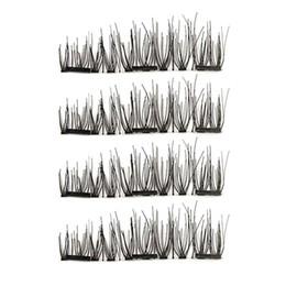 Making False Eyelashes Australia - 1 Set False Eyelashes Magnetic Lashes Three Magnet Glue Free Fake Eye Lashes Natural Chemical Fiber Hand Made Strip