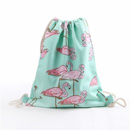Party Sacks Bags Australia - 1Pc Fashion Cotton Sacks Shoulder Drawstring Bag Canvas Flamingo Backpack Party Decorations Bachelorette Party DIY Baby Shower.Q